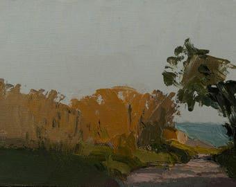 Hole, Original plein air palette knife landscape painting on 4x6 canvas board.