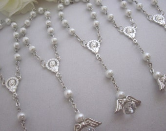 30 High Quality White Pearl Mini Angel Rosary Favors for Baptism Christening, Communion, Single Decade, Pocket Rosary Gift