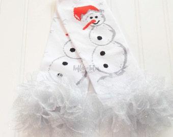 Snowman Holiday Winter Cotton Baby Leg Warmer with Glittler Ruffle