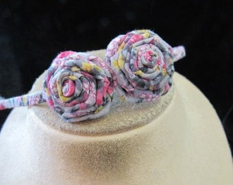 Vintage Hand Made Pink Gray Yellow Floral Head Band
