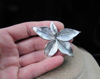 Vintage Large Brushed Silvertone Floral Pin