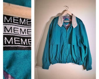 90s green racer / fisherman Members Only jacket w/ plaid lining