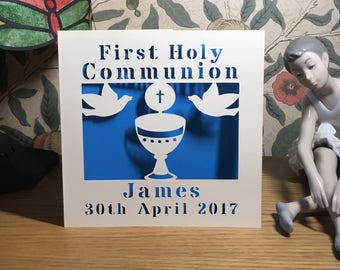 First First Holy Communion Card - Papercut - Personalised - 1st Holy Communion - First Communion - Personalized - Chalice and Doves