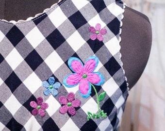 Checkered A-line Dress with Purple and Blue Embroidery and Appliqué – So Kawaii ! Decora Fairy Kei J-fashion