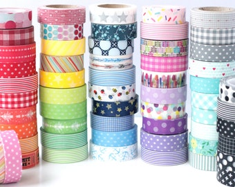 Pick Any 5 Rolls of Washi Tape - 85 Choices- Stripes / Dots / Chevron / Grid / Floral / Vintage Assorted Washi Set- Washi Tape Set