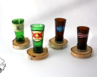 Bottle Neck Shot Glasses Made From- Yuengling - Dos Equis - Bud Light - Budweiser