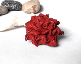 red leather rose brooch leather flower brooch red wedding brooch leather Gift wife gift|for|her gift|for|mom gift sister gift grandmother