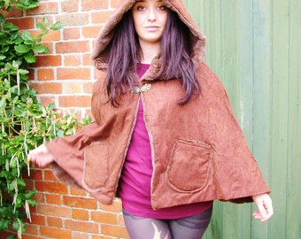 Hooded Cloak Cape chocolate faux fur with brown wool tweed/ LOTR/ hobbit cloak/ renaissance cape/ poncho/ festival/ winter coat/ fantasy