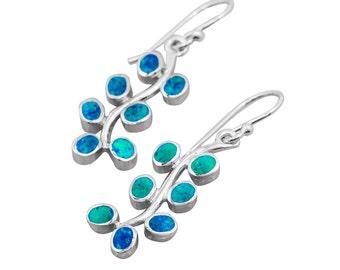 silver flower leaves dangle earrings with blue opal,flower leaves earrings,flower leaves earrings,blue opal earrings,flower earrings