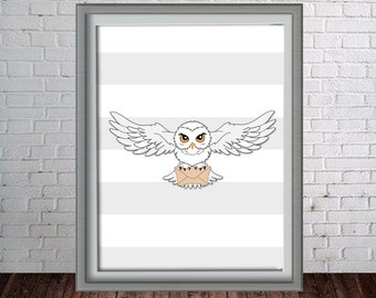 Printable Harry Potter Hedwig Wall Art Print - 16x20, 8x10 and 11x14 Harry Potter Hedwig- Instant Download - Can Customize