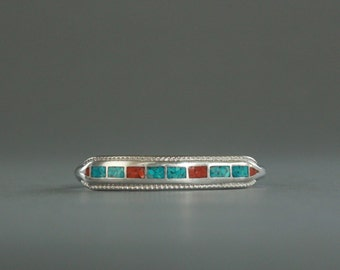 Chip Inlay Turquoise and Coral Cuff