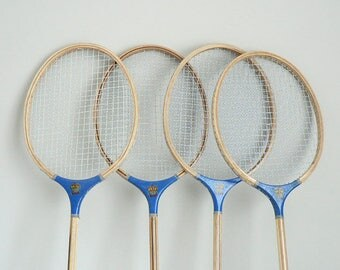 Wood Badminton Set of Four Rackets