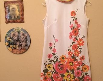 Fabulous Handmade 60s Floral Mini Shift Dress