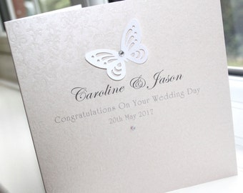 Personalised Handmade Wedding Card White Butterfly by Charlotte Elisabeth W003