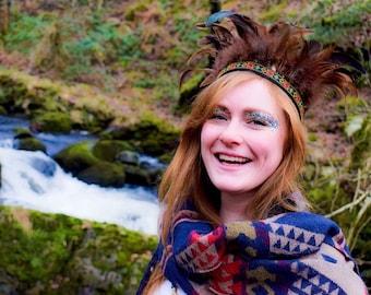 Handmade Feather Headdress, Brown Boho Gypsy Crown, Indian Headband