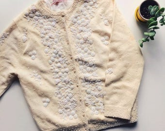 Vintage 1950s Yellow and White Beaded Cardigan