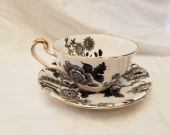 C&E Victoria china Mandarin Tea cup and saucer Black floral