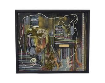 "1960 Found Object & Pastel Collage ""Madame Couturiere"" by Gullborg Chicago Artist"