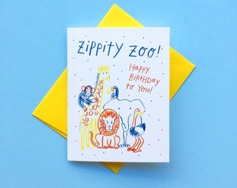 Zippity Zoo, Happy Birthday to You! Colorful Zoo Birthday Card