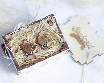 Wooden Tintin themed Cufflinks. Beautiful laser cut Walnut and then hand painted!
