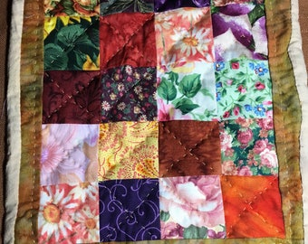 Quilt for Blythe Sized Doll, Hand Quilted, 9 x 11 inches