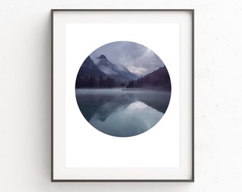 Blue Wall Art, Instant Download Printable Art, Digital Download, Mountain Print, Mountain Art, Geometric Print, Blue Print, Circle Print