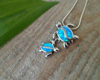 925 Silver Necklace - Blue opal Two Turtles  Necklace -  Two Turtles Pendant