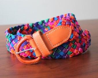 Multicolored leather and cotton artisanal belt /  bohemian folk mexican belt / Woven Braided belt / cinturon artesanal tejido