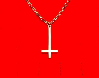 INVERTED CROSS necklace, upside down cross necklace, satanic jewelry, occult jewelry, satanic necklace, peters cross, inverted cross, mayhem