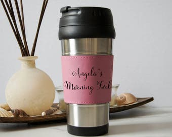 Personalized Travel Mug, Customized Leatherette Stainless Steel Travel Mug, Laser Engraved Travel Mug, Leather Coffee Mug, Custom Travel Mug