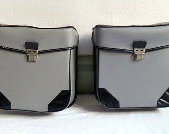 grey panniers for bicycle or moped / panniers bike / moped / vintage bicycle panniers / gift french retro bike / vintagefr