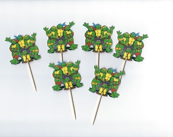 12 Ninja Turtles inspiried Cupcake Toppers, Double sided, Turtle Cupcake, Cupcakes, Theme Birthday Decor, Shower, Celebration. TMNT