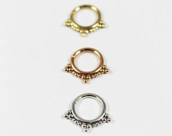 GODDESS, Silver Septum Ring, Gold Septum Ring, Rose Gold Septum Ring, White Gold Septum Ring, 14 guage