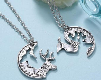 Deer, Buck and Doe, 2 in 1 Couple, Friendship Puzzle Necklace