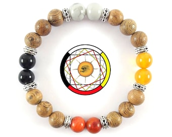 Wheel of Medicine-Native Indians of America-Four Elements-Earth Air Water Fire-Obsidian-Wood and Gemstones