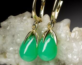 Chrysoprase Gold Earrings art 8292 | Natural Organic Green Chrysoprase Gemstone 14K Gold Earrings Fine Jewelry