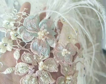 2017 New Design Embroidery Lace Fabric with Feather Lace Fabric with Beadings