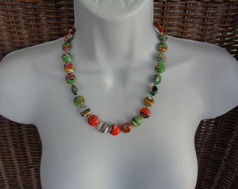 Multi Colored Murano Glass Disk Bead Necklace with Earrings