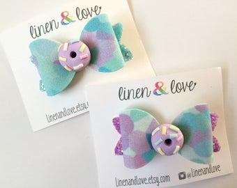 Donut Hair Bow  Blue/Purple Confetti with Glitter - Polymer Clay Donut - Doughnut Hair Bow