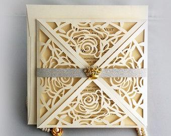 Personalized elegant laser cut rose flower invitation with silver glitter band crown rhinestone folding Wedding Invitation Free shipping