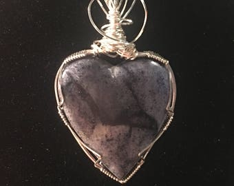 Blue Quartz and Sterling Silver Heart Shaped Pendant