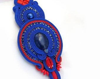 Elegant Soutache pendant Red blue necklace soutache OOAK statement necklace Soutache sodalit stone royal blue pendant christmas gift for her