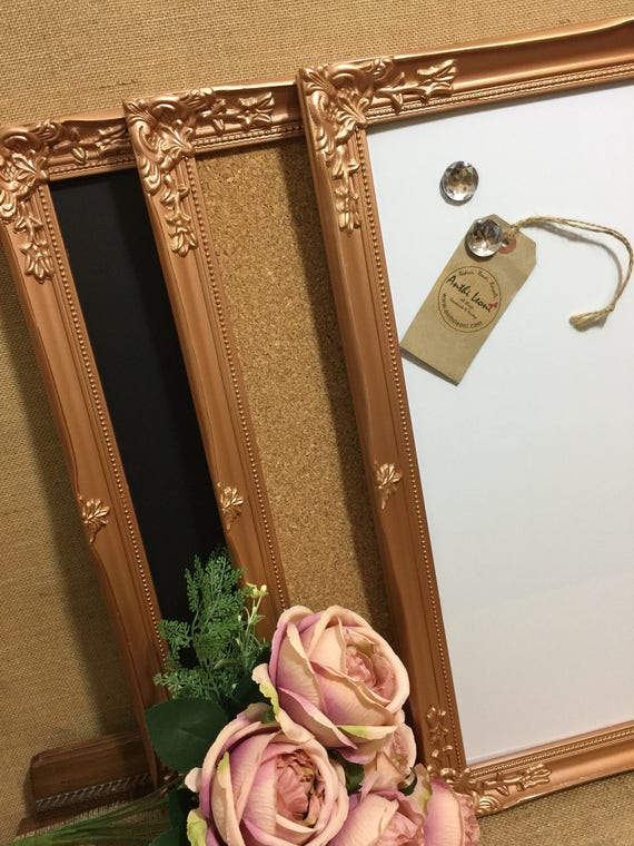 ROSE GOLD Ornate Framed Notice BOARD / Metallic Frame Message Board / Bulletin Board / Notice Board / Vision Board / Gold - Silver - Copper