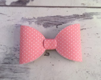 Pink Polka Dot Hair Bow - White and Pink Polka Dot Bow - Girls Bow - Girls Headband - Girls Clip - Vintage Style Bow