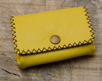 Yellow Leather Wallet, Leather Coin Purse, Coin Wallet, Leather Coin Pouch