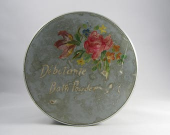 "Vintage Powder Box Blue Tin Bath Art ""Debutante"" Pastel Floral ""Fuller Brush Co"" Shabby Chic Vintage Beauty Container Flower Bouquet Gift"