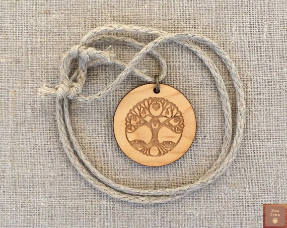 Ancient Tree of Life Carved Pendant—Recycled Maple Wood & Undyed Organic Hemp