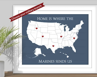 Home is Where the Military Sends Us, State Map Art - (Choose your Military branch) PRINTABLE. Travel map. Army, Navy, Marines, Air Force - 2
