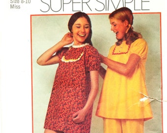 Simplicity 9626, Misses' Pajamas or Nightgown; © 1971; Size Small 8-10, Bust 32