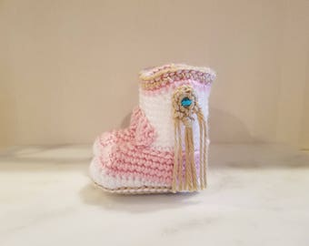 """Baby Doll Cowgirl Boots/Crochet/Doll Shoes/Pink Boots/Cowboy Boots/18"""" Doll/Fringe/ Tassel/Turquoise/Baby Doll/"""